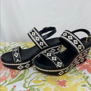 Tory Burch black/white wedge heels 7M